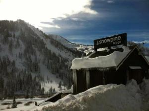 Snowpine Lodge covered in snow!