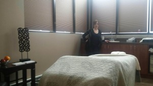 Amanda showing off her therapy room