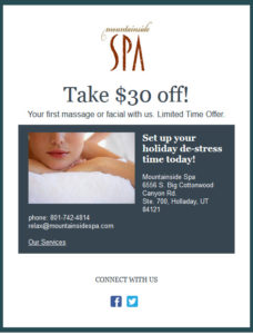 New Client offer $30 off your first massage or facial