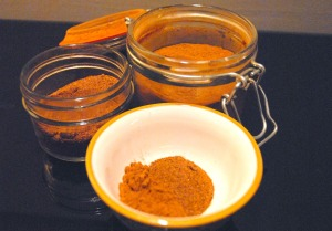 First, mix your dry ingredients, nutmeg and cinnamon, into a small container