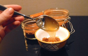 The last step, add honey to your dry ingredients then mix. Tip: if your honey is cold, warm it up in the microwave