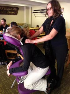 Ski in and ski out chair massages at the Cafe at Goldminer's Daughter Lodge