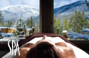 mountainside spa massage table with a mountain view