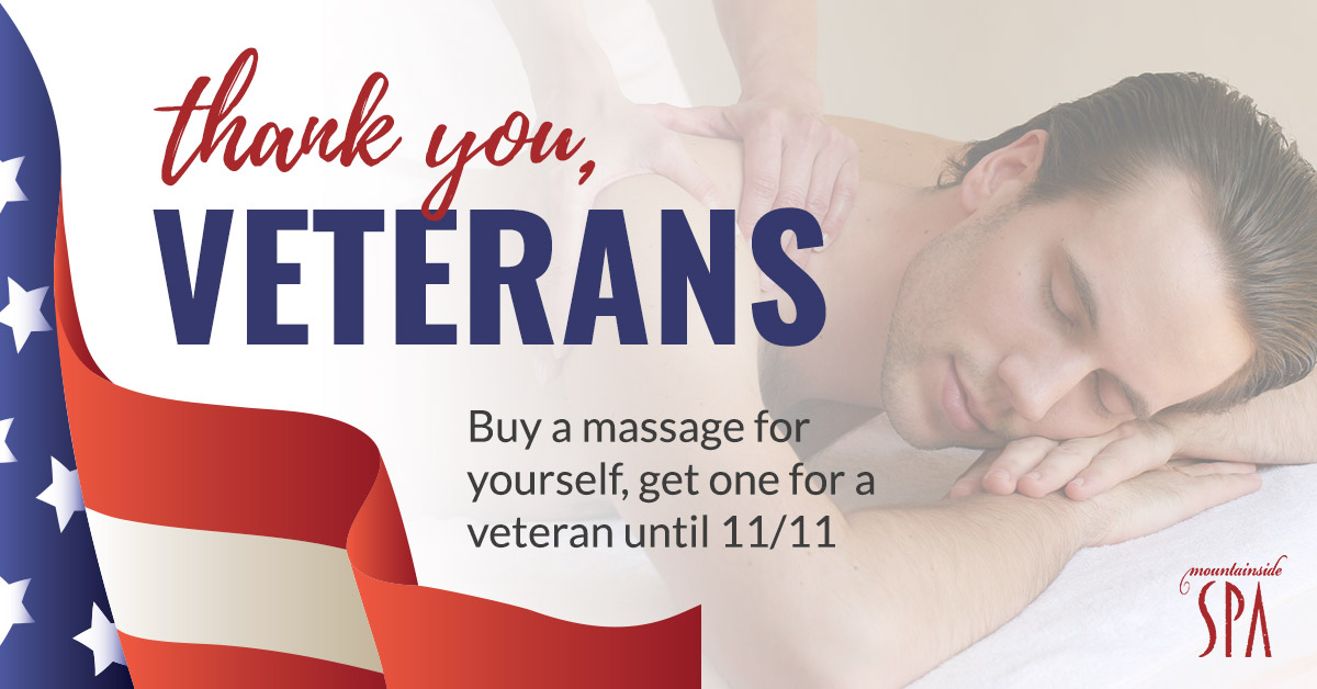 Buy a massage for yourself, get one for a veteran until November 11th